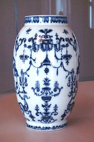French porcelain - Saint-Cloud manufactory soft-paste porcelain vase, with blue designs under glaze, 1695-1700.
