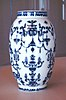 Saint Cloud soft porcelain vase with blue designs