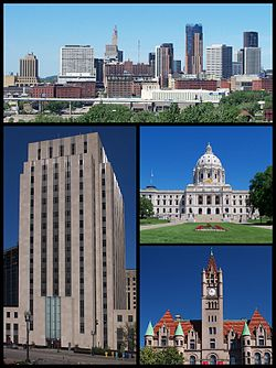 در خلاف جهت ساعت از بالا: Downtown Saint Paul as seen from the east, Saint Paul City Hall, Landmark Center, و کاپیتول ایالت مینسوتا