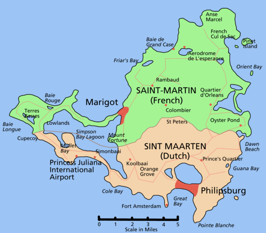Map showing the French Saint-Martin (north) and Dutch Sint Maarten (south)
