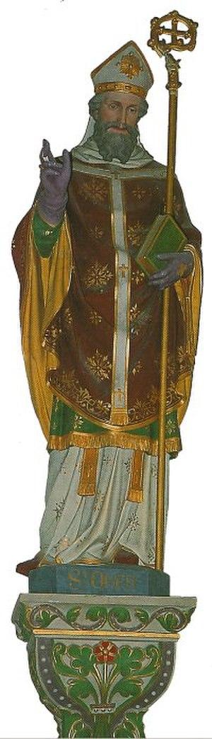Audomar - Statue de Saint Audomar (Omer).  Church of Orval, Manche.
