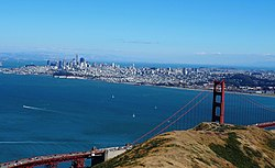 Ang San Francisco at ang Tulay ng Golden Gate mula sa Marin Headlands