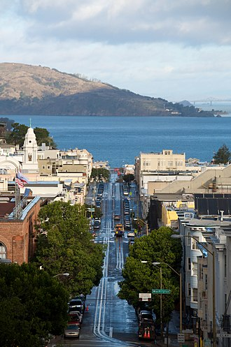 Nob Hill, San Francisco - View of the San Francisco Bay from Mason Street.