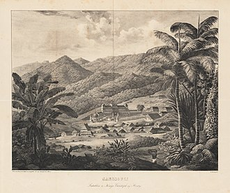 Sans-Souci Palace - Sans Souci. Castle of King Christopher of Haiti, lithograph by Gottfried Küstner (1800–1864) from a work by Carl Ritter, published in 1836.