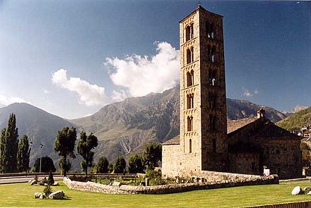The Medieval church of Sant Climent de Taüll, located at the foothills of the Pyrenees, in the province of Lleida Sant-climent-exterior-boi04.jpg