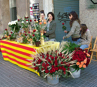 Rose (symbolism) - Selling roses on St George's Day in Catalonia, Spain