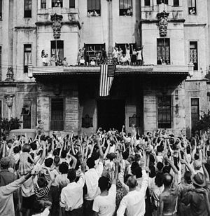 University of Santo Tomas - Liberation of internees in front of the UST Main Building by the Americans in February 1945, during the World War II.