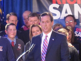 2012 United States presidential election in Iowa - Santorum delivering a caucus-night victory speech