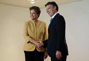Foreign relations of Brazil - President of Colombia, Juan Manuel Santos and President of Brazil, Dilma Rousseff.