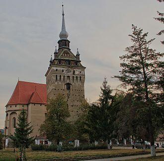 Saschiz fortified church - Image: Saschiz Church Tower (8154793110)