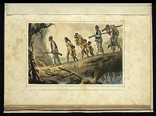 Sauvages civilisés soldats indiens de la province de la Coritiba, ramenant des sauvages prisonnières