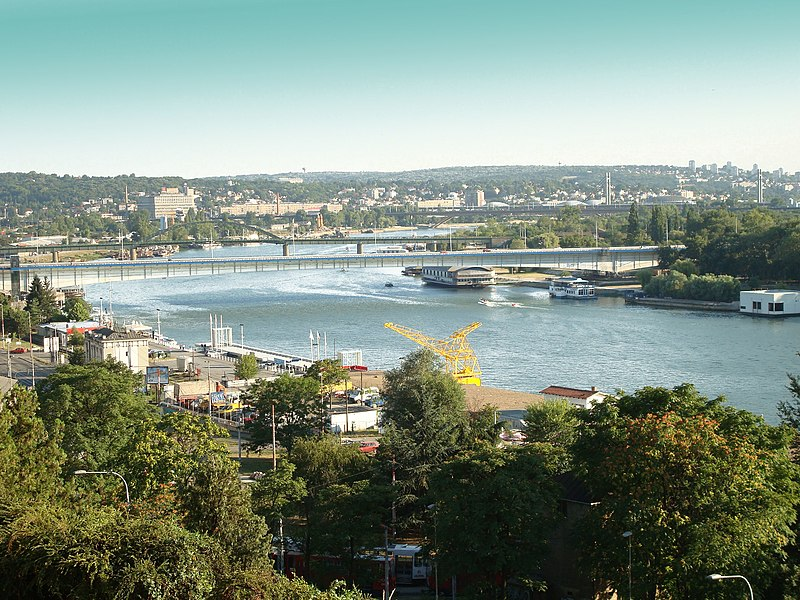 Slika:Sava river in Belgrade, view from Kalemegdan fortress.jpg