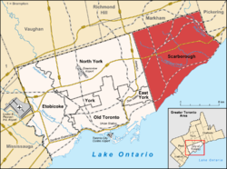 Location of Scarborough (red) in Toronto.