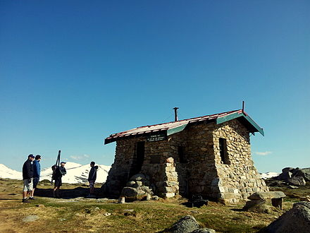 Seaman's Hut on the old Summit Road en route to Mount Kosciuszko from Charlotte Pass. (October 2013) Seamans hut.jpg