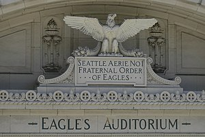 Fraternal Order of Eagles - Terracotta ornamentation of the former Eagles Aerie No. 1, Eagles Auditorium Building in Seattle.