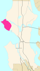 Map of Magnolia's location in Seattle