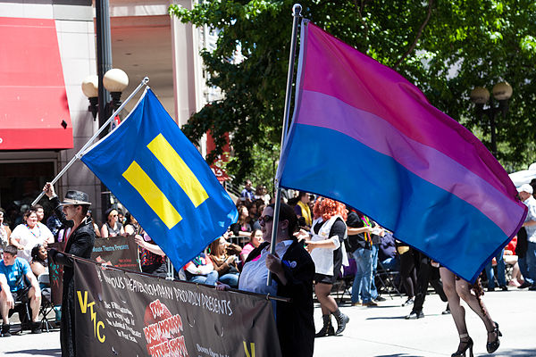 Human Rights Campaign equality flag, and Bisexual Pride flag, Seattle Pride