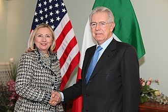 Mario Monti - Prime Minister Monti with U.S. Secretary of State Hillary Clinton, 2012.