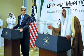 Hamad bin Jassim bin Jaber Al Thani - Hamad and U.S. Secretary of State John Kerry in 2014