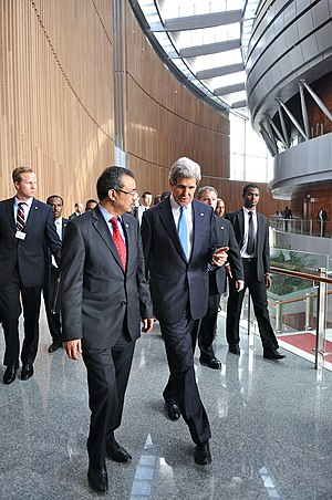 Tedros Adhanom - Tedros with American Secretary of State John Kerry at the 50th Anniversary Summit of the African Union/OAU.