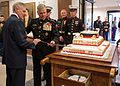 Secretary of the Navy Ray Mabus, left, and Commandant of the Marine Corps Gen. James F. Amos, second from left, use a sword to cut the cake at the Marine Corps birthday celebration in the Pentagon on Nov 121107-N-AC887-002.jpg