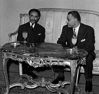 Addis Ababa - Emperor Haile Selassie of Ethiopia and President Gamal Abdel Nasser of Egypt in Addis Ababa for the Organisation of African Unity summit, 1963.