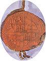 Selo que D. João I, rei de Castela, casado com D. Beatriz de Portugal mandou fazer a quando do seu assentamento em Santarém com a pertença de se assenhorar do trono de Portugal.jpg