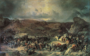 Italian and Swiss expedition - Suvorov Crossing the St. Gotthard Pass, an Alexander Kotzebue painting