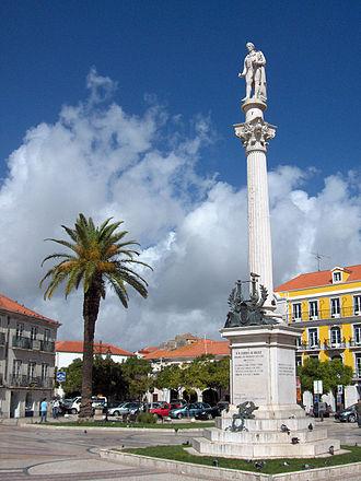 Setúbal - Statue of Setúbal poet Manuel Maria Barbosa du Bocage in a city square.