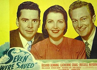Catherine Craig - Russell Hayden, Catherine Craig, and Richard Denning in Seven Were Saved (1947)