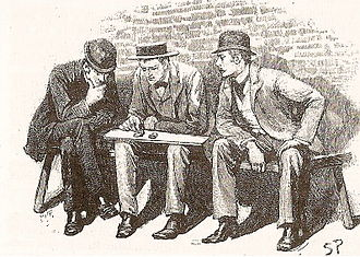 The Adventure of the Cardboard Box - Holmes examining the ears, 1893 illustration by Sidney Paget