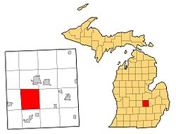 Location of Bennington Township within Shiawassee County, Michigan