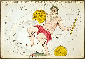 Aquarius (constellation) - A representation of Aquarius printed in 1825 as part of Urania's Mirror (including a now-obsolete constellation, Ballon Aerostatique south of it)