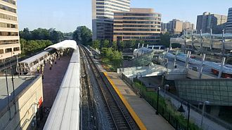 Silver Spring station (Maryland) - The station (left) with the Transit Center (right), 2016