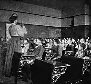 "1898 photograph of a singing class at a ""..."