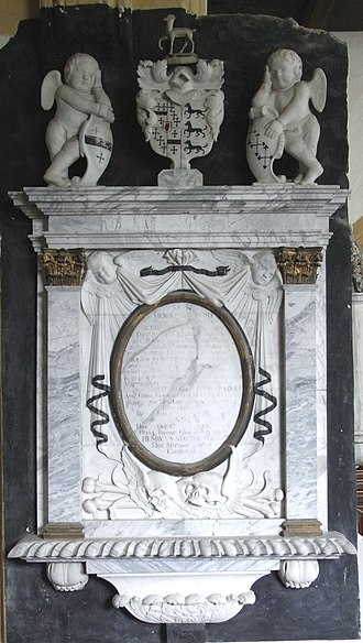 Sir Henry Northcote, 4th Baronet - Mural monument to Sir Henry Northcote, 4th Baronet (1655–1730) of Corffe in the parish of Tawstock, Devon. St Peter's Church, Tawstock