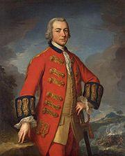 Muotokuva brittiläisestä komentajasta, Sir Henry Clinton pukupuvussa.