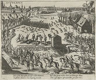 Battle of Borgerhout - Engraving of the Battle of Borgerhout by Frans Hogenberg, 1579–81.