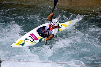 Australia at the 2012 Summer Olympics - Silver medalist Jessica Fox competing in the Women's K-1 canoe slalom semi-final.