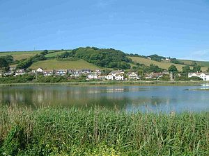 """Torcross - The """"inland"""" part of Torcross seen from across Slapton Ley."""