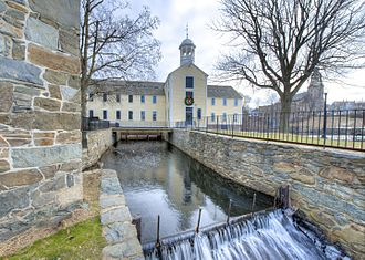The Slater Mill Historic Site in Pawtucket, Rhode Island Slater and Wilkinson Mills - exterior & water power systems.jpg