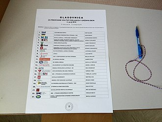 2018 Slovenian parliamentary election - Ballot paper in the 6th electoral district of the 4th constituency in 2018 elections