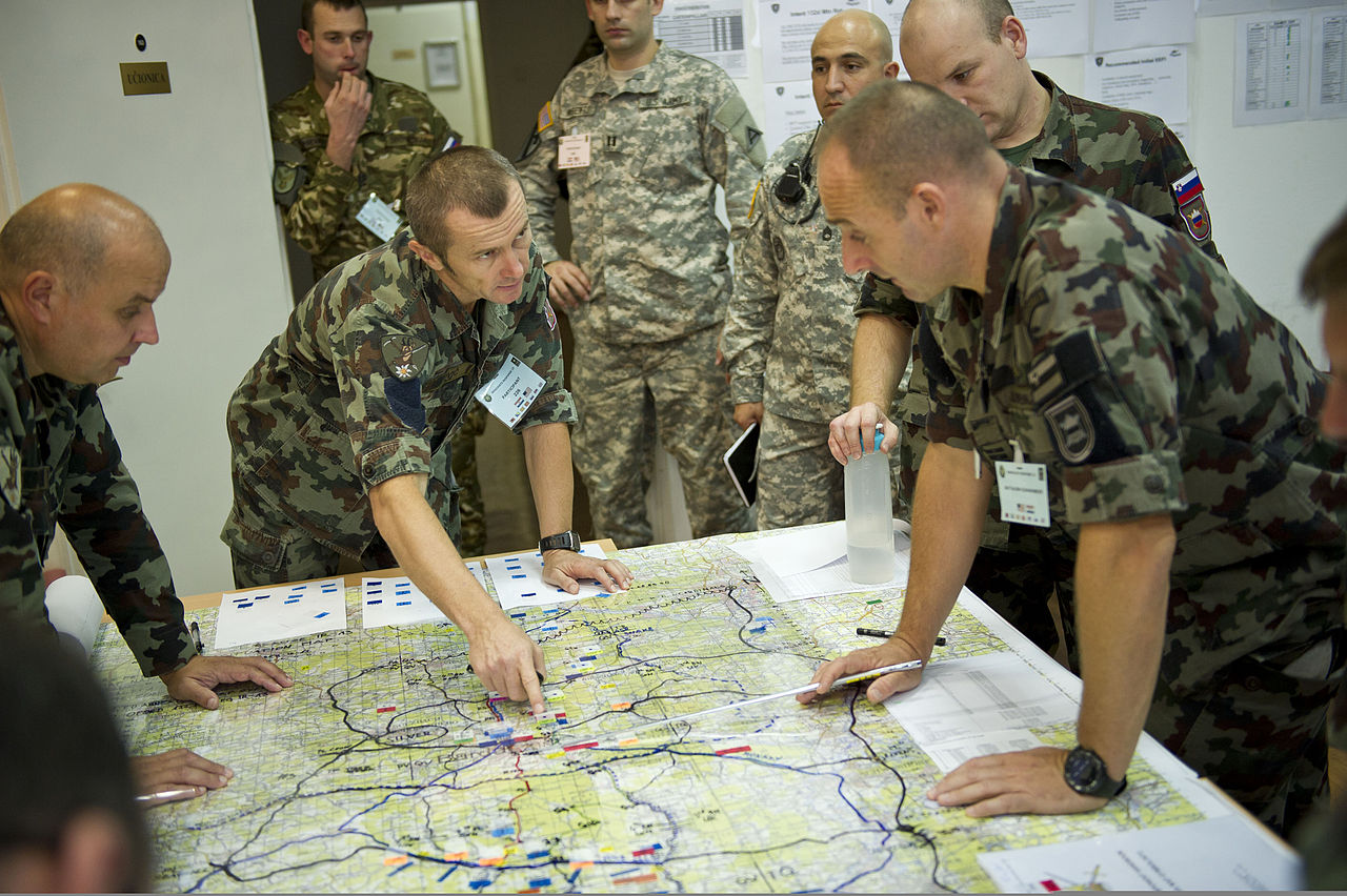 File Slovenian Soldiers Review A Map As U S Army Officers