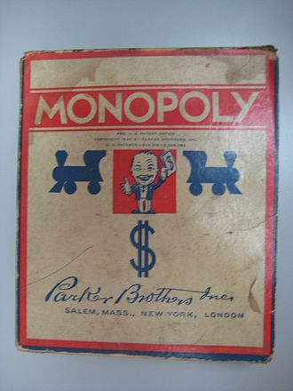 "History of the board game Monopoly - Box lid of a Parker Brothers-published copy of Monopoly (the ""Number 7 Black Box Edition"") around 1936–1941"