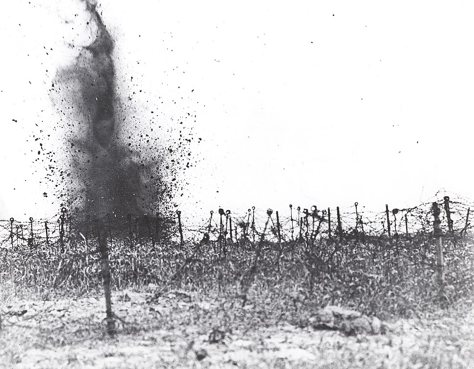 Smashing barbed wire with trench mortar shells
