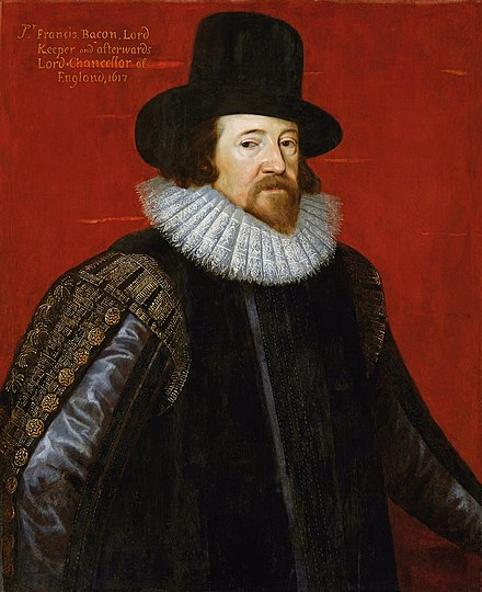 Francis Bacon was a pivotal figure in establishing the scientific method of investigation. Portrait by Frans Pourbus the Younger (1617). Somer Francis Bacon.jpg