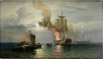 Oswald Walters Brierly - South Sea whalers boiling blubber, c1876. Dixon Galleries, State Library of New South Wales.