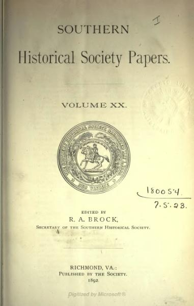 File:Southern Historical Society Papers volume 20.djvu