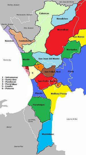 Manila (province) - Image: Spanish province of Manila map