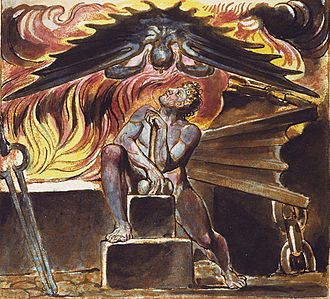 Mythopoeia - Because William Blake worked in multiple artistic mediums, printing and illustrating extensive art books, his own extensive mythological community is both written about and illustrated. Here, Los is tormented at his smithy by the characteristic part of human nature Spectre in an illustration to Blake's poem Jerusalem. This image comes from Copy E. of that work, printed in 1821 and in the collection of the Yale Center for British Art